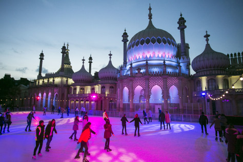 Skaters enjoy the spectacular backdrop of the Royal Pavilion in Brighton last night as the rink opened this week for Christmas ***Pic by David McHugh / Brighton Pictures 07768 721637***