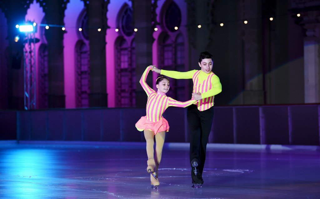 Brighton UK 2nd November 2017 - The VIP launch party for the opening of the Royal Pavilion Ice Rink in Brighton which opens to the public on Saturday 4th November Sophie (12) and Curtis (13) Elton perform at the opening show Photograph taken by Simon Dack