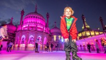 The Royal Pavilion Ice-Rink in Brighton, East Sussex, now in its ninth year, is opening on Saturday once more for the festive season, until January 13th. 100 local people were chosen to be the first on the ice at a special preview event this evening, Thursday